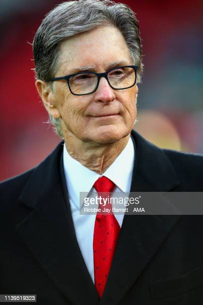 John W. Henry the owner of Liverpool FC during the Premier League match between Liverpool FC and Huddersfield Town at Anfield on April 26, 2019 in...