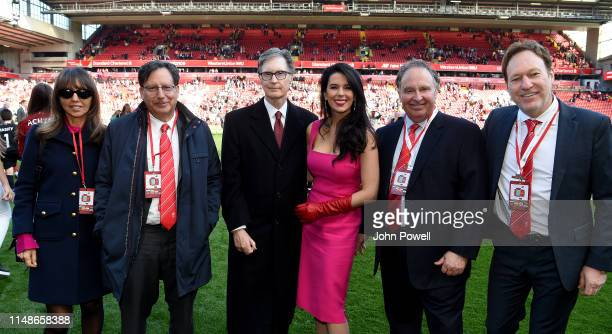 John W Henry with Linda Henry Pizzuti and Tom Werner owner's of Liverpool at the end of the Premier League match between Liverpool FC and...