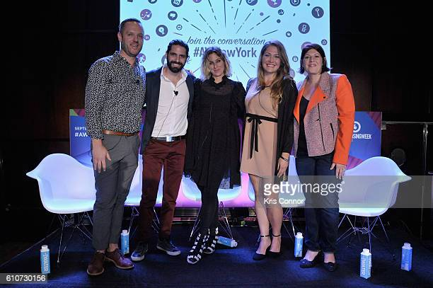 John Wagner Jon Levy Carla Sosenko Amanda Morrison and Stephanie Agrest pose onstage at the From Influence to Action The Best Brand Advocates...