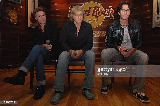 John Waite Eddie Money Rick Springfield attend a pre concert press conference at the Seminole Hard Rock Hotel and Casino on September 16 2007 in...