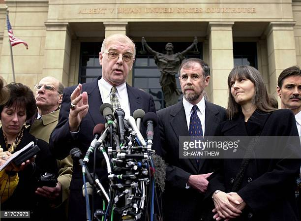 John Walker Lindh's attorney James Brosnahan with Walkers parents Frank Lindh and Marilyn Walker speak to the press 24 January 2002 after Walker...