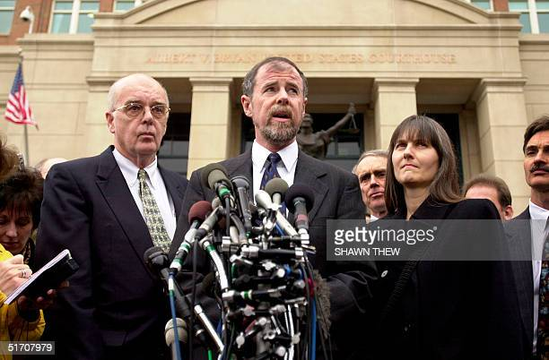 John Walker Lindh's father Frank Lindh with Walker Lindh's attorney James Brosnahan and mother Marilyn Walker speaks to the press 24 January 2002...