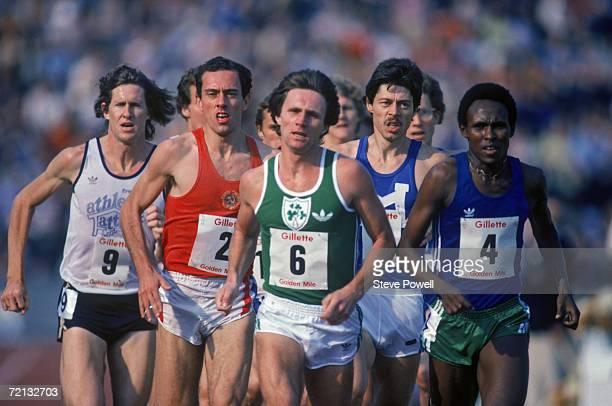 John Walker of New Zealand #2 Steve Ovett of Great Britain #6 Eamonn Coghlan of Ireland Thomas Wessinghage of West Germany and Filbert Bayi of...