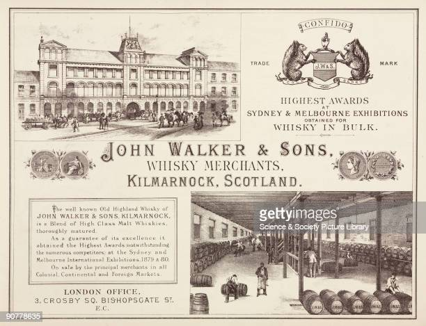 John Walker Sons were whisky producers and merchants at Kilmarnock in Scotland The advertisement features views of the interior and exterior of their...