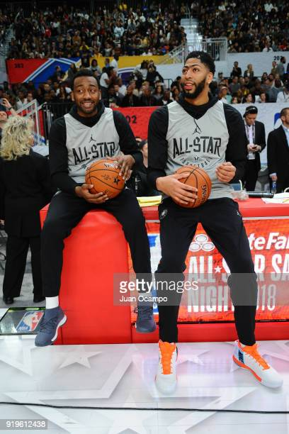 John Wall and Anthony Davis of Team LeBron talk during NBA AllStar Media Day Practice as part of 2018 NBA AllStar Weekend at the Los Angeles...
