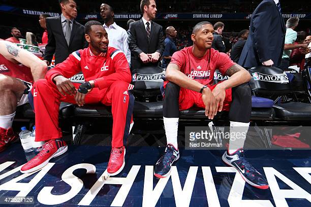 John Wall and Bradley Beal of the Washington Wizards get ready for the game against the Atlanta Hawks in Game Six of the Eastern Conference...