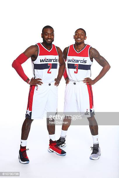 John Wall and Bradley Beal of the Washington Wizards pose for a portrait during the 20162017 Media Day on September 26 2016 at the Verizon Center in...