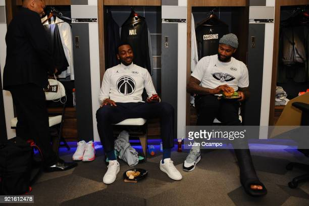 John Wall and DeMarcus Cousins of team LeBron look on in the locker room prior to the NBA AllStar Game as a part of 2018 NBA AllStar Weekend at...