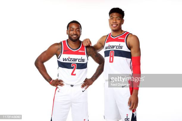 John Wall and Rui Hachimura of the Washington Wizards pose for a portrait during the 2019 NBA Rookie Photo Shoot at the Washington Wizards Practice...
