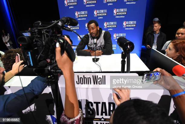 John Wall of Team LeBron is interviewed for the upcoming 2018 NBA All-Star game during Media Day at the Verizon Up Arena at LACC on February 17, 2018...