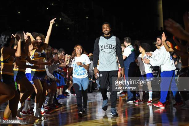 John Wall of Team LeBron runs out before the NBA All-Star Media Day & Practice as part of 2018 NBA All-Star Weekend at the Los Angeles Convention...