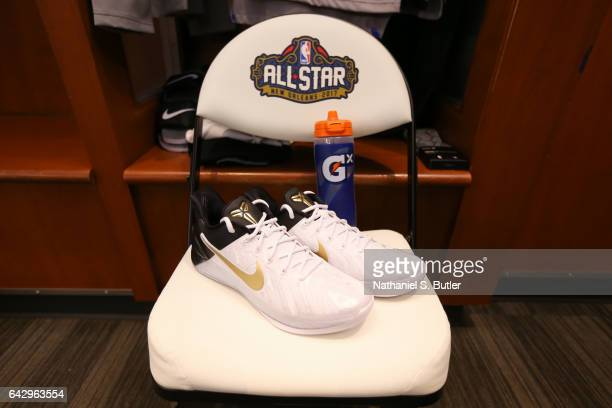 John Wall of the Eastern Conference AllStars jersey and sneakers during the NBA AllStar Game as part of the 2017 NBA All Star Weekend on February 19...