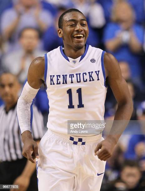 John Wall of the Kentucky Wilcats celebrates during the SEC game against the Tennessee Volunteers on February 13 2010 at Rupp Arena in Lexington...