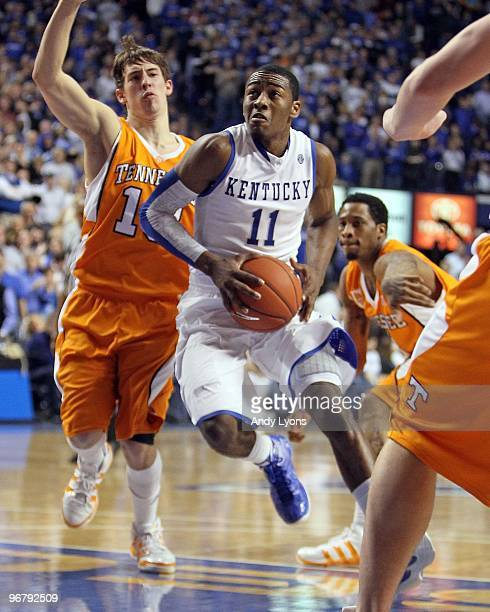 John Wall of the Kentucky Wilcats drives during the SEC game against the Tennessee Volunteers on February 13 2010 at Rupp Arena in Lexington Kentucky