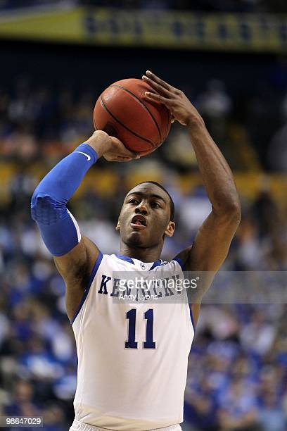 John Wall of the Kentucky Wildcats attempts a free throw shot against the Tennessee Volunteers during the semirfinals of the SEC Men's Basketball...