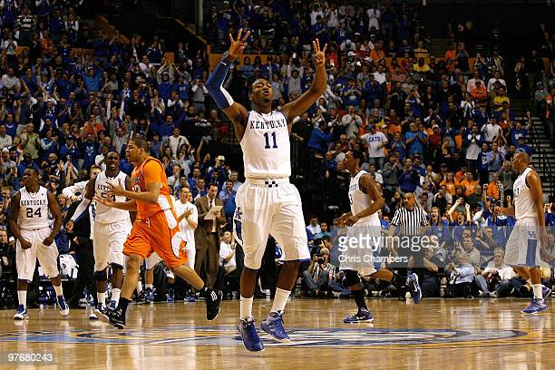John Wall of the Kentucky Wildcats celebrates after Kentucky scored a basket in the second half against the Tennessee Volunteers during the...