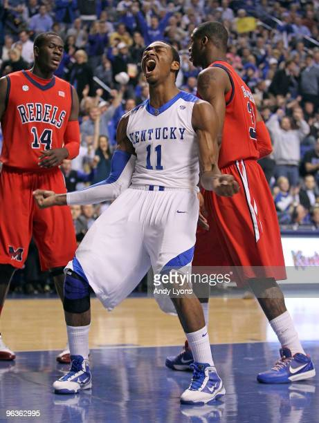 John Wall of the Kentucky Wildcats celebrates during the SEC game against the Ole Miss Rebels on February 2, 2010 at Rupp Arena in Lexington,...