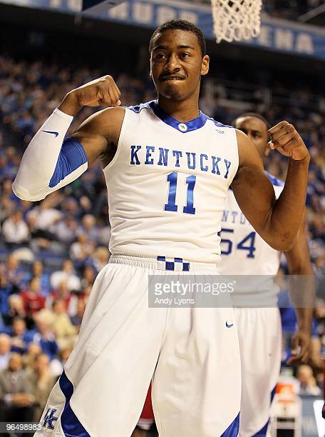 John Wall of the Kentucky Wildcats celebrates during the SEC game against the Arkansas Razorbacks on January 23 2010 at Rupp Arena in Lexington...