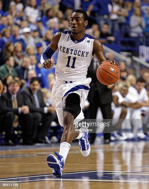 John Wall of the Kentucky Wildcats dribbles the ball during the game against the Rider Broncs on November 21, 2009 in Lexington, Kentucky.