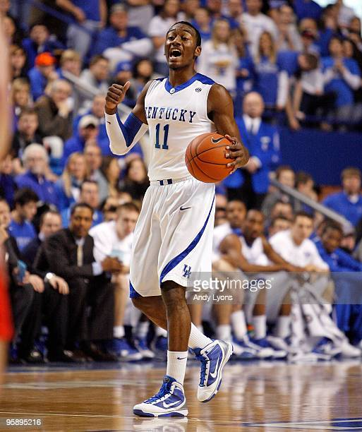 John Wall of the Kentucky Wildcats dribbles the ball during the game against the Hartford Hawks at Rupp Arena on December 29 2009 in Lexington...