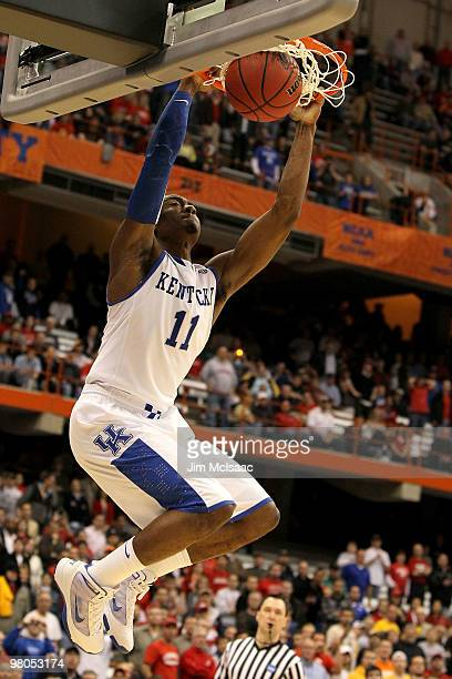 John Wall of the Kentucky Wildcats dunnks against the Cornell Big Red during the east regional semifinal of the 2010 NCAA men's basketball tournament...