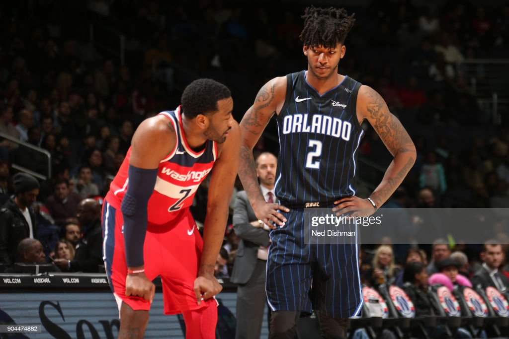 John Wall #2 of the Washington Wizards and Elfrid Payton #2 of the Orlando Magic talk during the game on January 12, 2018 at Capital One Arena in Washington, DC.