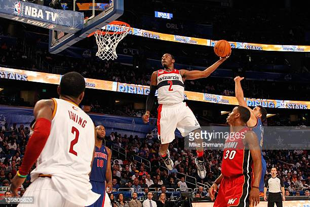 John Wall of the Washington Wizards and Team Chuck dunks during the BBVA Rising Stars Challenge part of the 2012 NBA AllStar Weekend at Amway Center...