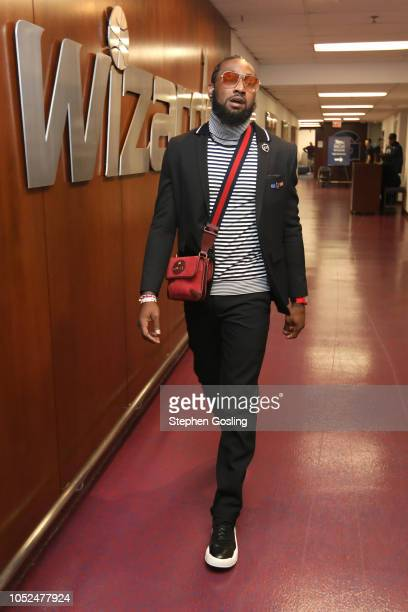 John Wall of the Washington Wizards arrives before the game against the Miami Heat on October 18 2018 at the Capital One Arena in Washington DC NOTE...