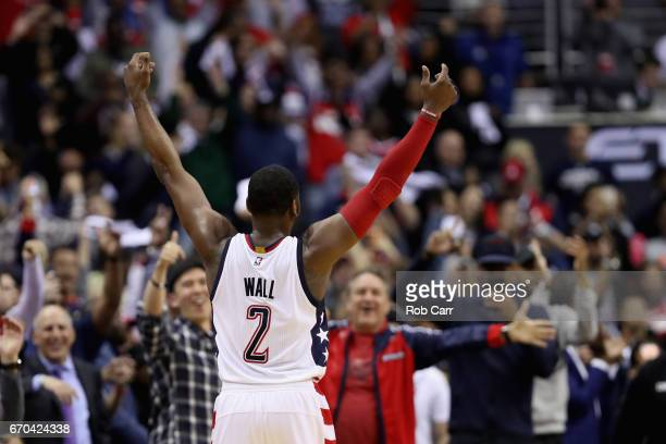 John Wall of the Washington Wizards celebratres after making a shot in the second half of the Wizards 109101 win over the Atlanta Hawks in Game Two...