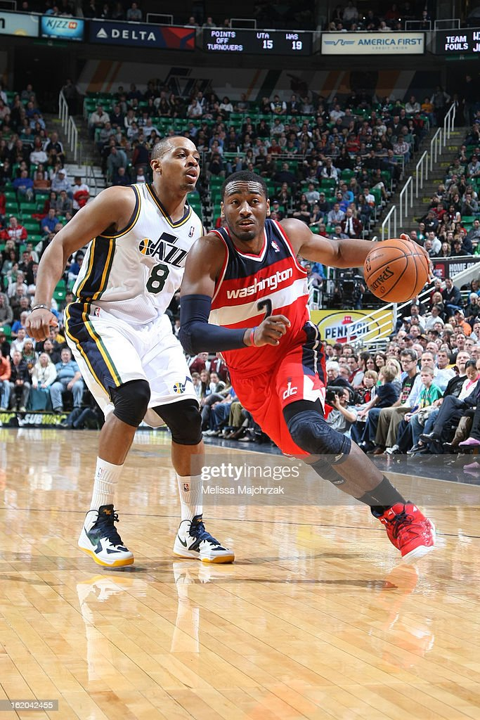 John Wall #2 of the Washington Wizards drives to the basket against the Utah Jazz at Energy Solutions Arena on January 23, 2013 in Salt Lake City, Utah.
