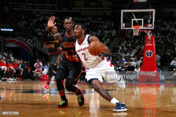 John Wall of the Washington Wizards drives to the basket during the game against the Atlanta Hawks during the Eastern Conference Quarterfinals of the...