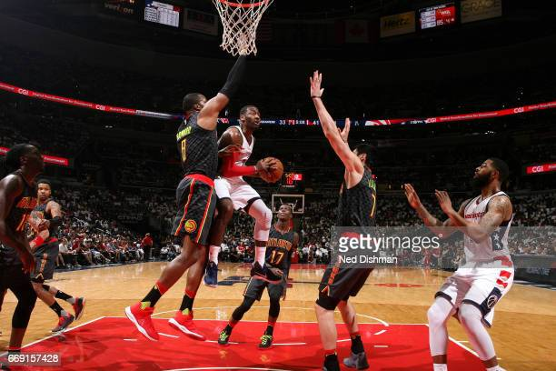 John Wall of the Washington Wizards goes for a lay up during the game against the Atlanta Hawks during the Eastern Conference Quarterfinals of the...