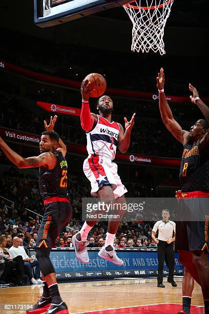 John Wall of the Washington Wizards goes up for a lay up during a game against the Atlanta Hawks on November 4 2016 at the Verizon Center in...