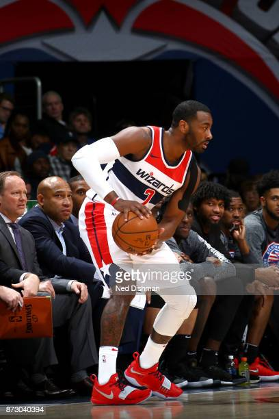 John Wall of the Washington Wizards handles the ball against the Atlanta Hawks on November 11 2017 at Capital One Arena in Washington DC NOTE TO USER...