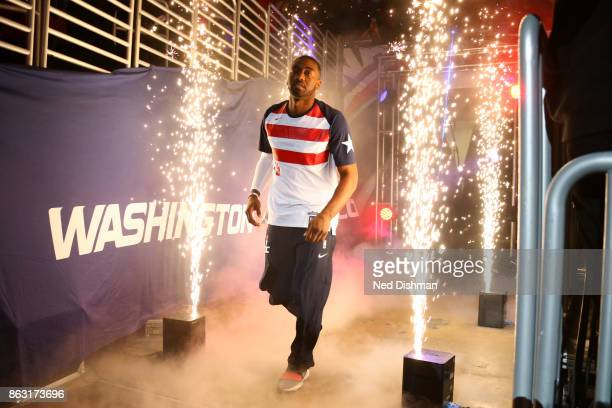 John Wall of the Washington Wizards is introduced before the game against the Philadelphia 76ers on October 18 2017 at Capital One Arena in...