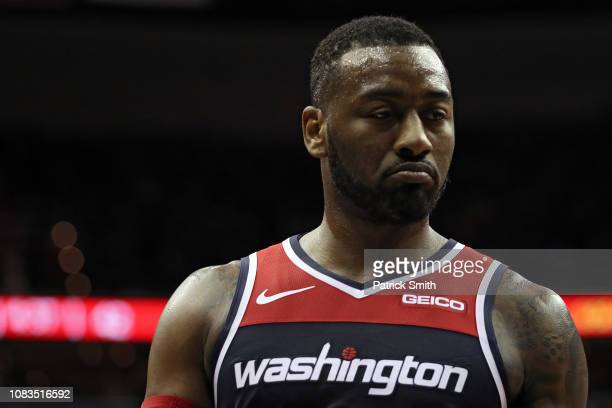 John Wall of the Washington Wizards looks on against the Los Angeles Lakers during the first half at Capital One Arena on December 16 2018 in...