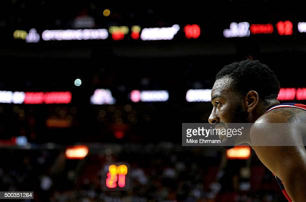 John Wall of the Washington Wizards looks on during a game against the Miami Heat at American Airlines Arena on December 7 2015 in Miami Florida NOTE...