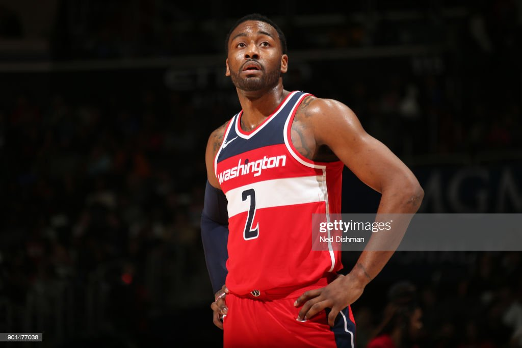John Wall #2 of the Washington Wizards looks on during the game against the Orlando Magic on January 12, 2018 at Capital One Arena in Washington, DC.
