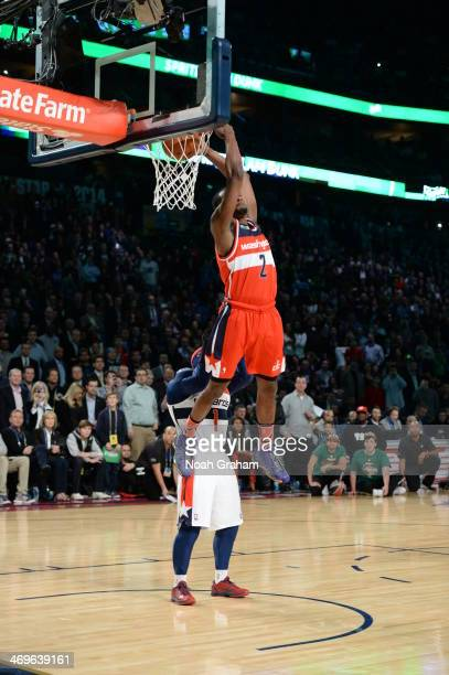 John Wall of the Washington Wizards participates in the Sprite Slam Dunk Contest on State Farm All-Star Saturday Night as part of the 2014 All-Star...