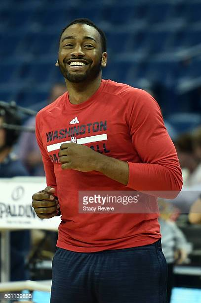 John Wall of the Washington Wizards participates in warmups prior to a game against the New Orleans Pelicans at the Smoothie King Center on December...