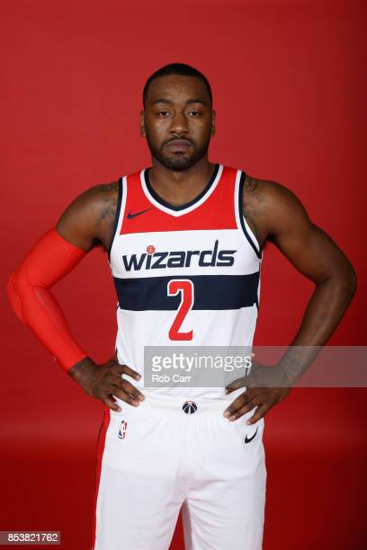 John Wall of the Washington Wizards poses during media day at Capital One Arena on September 25, 2017 in Washington, DC. NOTE TO USER: User expressly...