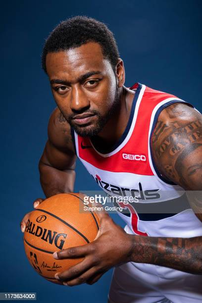 John Wall of the Washington Wizards poses for a portrait during media day on September 30, 2019 at the Washington Wizards Practice Facility in...