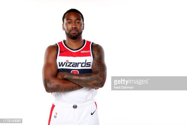John Wall of the Washington Wizards poses for a portrait during the 2019 NBA Rookie Photo Shoot at the Washington Wizards Practice Facility on...