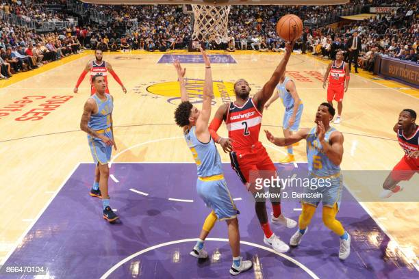 John Wall of the Washington Wizards shoots the ball against the Los Angeles Lakers on October 25 2017 at STAPLES Center in Los Angeles California...