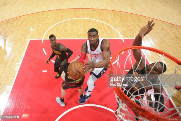 John Wall of the Washington Wizards shoots the ball against the Atlanta Hawks during Game Two of the Eastern Conference Quarterfinals of the 2017 NBA...