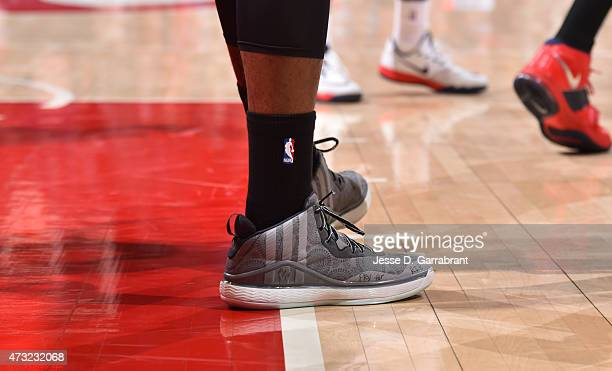 John Wall of the Washington Wizards showcases his sneakers against the Atlanta Hawks in Game five of the Eastern Conference Semifinals of the NBA...