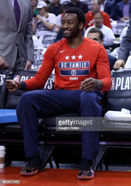 John Wall of the Washington Wizards smiles during players introductions prior to the first half of Game Five against the Toronto Raptors in Round One...