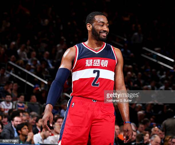 John Wall of the Washington Wizards smiles during the game against the New York Knicks on February 9 2016 at Madison Square Garden in New York City...