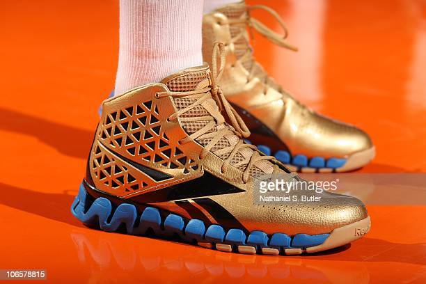 John Wall of the Washington Wizards sports his new Reebok sneakers during game against the New York Knicks during a game on November 5 2010 at...