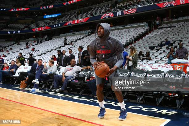 John Wall of the Washington Wizards warms up before the Eastern Conference Quaterfinals against the Atlanta Hawks during the 2017 NBA Playoffs on...